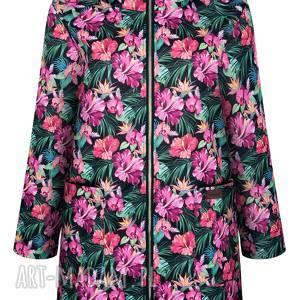 wiosenny przeciwdeszczowy płaszcz damski, wodoodporna tkanina, floral, kwiaty, kurtka