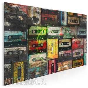 obraz na płótnie - kasety retro 120x80 cm 18301, kasety, retro, oldschool