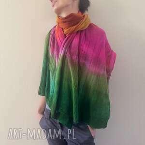 kolorowy szal na smuteczki, szal, szalik, kolorowy, wełniany, ciepły, unikatowy