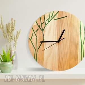 ręcznie zrobione zegary zegar z drewna dębowego, żywica, drzewko, natura, wzór