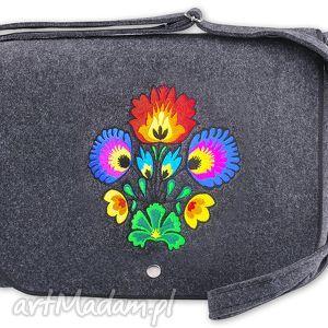 filcowa torebka listonoszka - bukiet t073006, torebka, filc, łowicki, haft