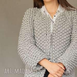 swetry grey chunky, dziergany, gruby, kardigan, na drutach, gruby ścieg