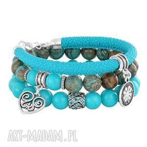 bransoletki energetic blue brown , rzemień, jaspis, koniczynka, jadeit biżuteria
