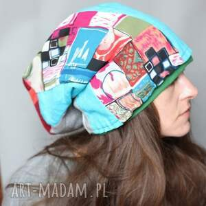 czapka dresowa patchworkowa damska, czapka, dresowa, sport, etno, mama, wiosna