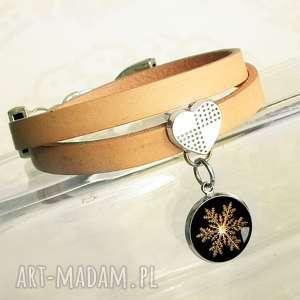bransoletka na prezent świąteczny - śnieżynka złota, śnieżynki, święta, gwiazdka
