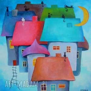 obraz na płótnie - bajkowe miasteczko format 40/40 cm, domki, koty, bajka, czerwień