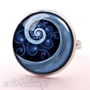 niebieska spirala - pierścionek regulowany, biżuteria, elegancki