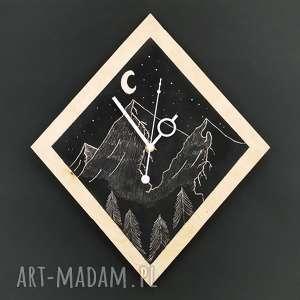 Zegar ścienny Góry na tle nocnego nieba , góry, noc, las, skandynawski, drewno