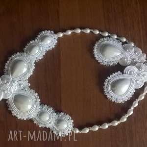 Ślubny komplet sutasz w bieli - kolczyki i naszyjnik, ślubny, sutasz, kaboszony
