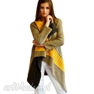 Sweter w asymetryczne pasy, sweter, kardigan, dzianina