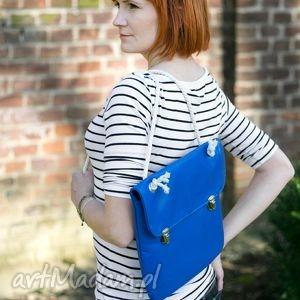 handmade na ramię prl lady in blue marine