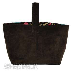 13-0003 brązowa torebka damska do ręki shopper bag / na zakupy toucan, modne