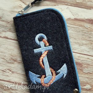Prezent Filcowe etui na telefon - kotwica, etui, smartfon, styl, marynarski