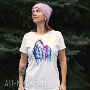 Koszulka z autorskim projektem akwarelowy niebieski koń t-shirt