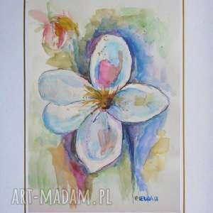unikalne, kwiatyiv - akwarela, kwiaty, papier, róż, niebieski, abstrakcja