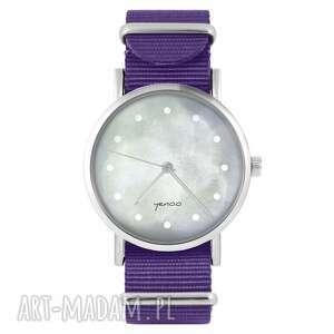 Zegarek - szary fioletowy, nylonowy zegarki yenoo zegarek, pasek
