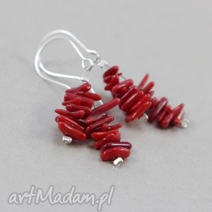 hand-made kolczyki czerwony koral patyczki i srebro - kolczyki 1