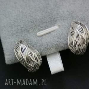 Prezent kolczyki srebrne ażurowe, kolczyki, srebrne, zapinane, na, prezent