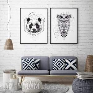 zestaw plakatów ze zwierzakami - panda i sowa 30x40 cm, plakat geometryczny