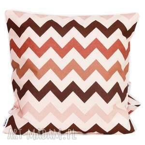 hand-made poduszki poduszka bawełnina zygzak w brązach 40x40cm wyprzedaż