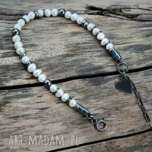 perełki z serduszkiem - bransoletka iii, perła, perły, pereł