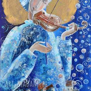 muzyka nad miastem, anioł, muzyka, na ścianę, prezent, obraz, płótno, prezenty
