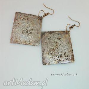 miedziane kolczyki, biżuteria, handmade, miedziane, patyna, metaloplastyka