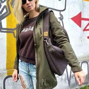 ręcznie wykonane torebki brązowa torba worek z grubej plecionki na ramię