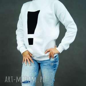 Bluza dresowa biała Exclamation, bluza-damska, biała-bluza, dresowa-bluza, wykrzyknik