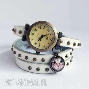 handmade zegarki zegarek - kot tygrysek owijany, skóra, nity