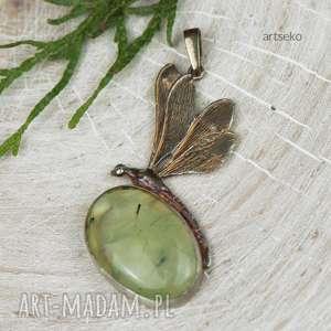 a592 naszyjnik srebrna ważka z frenitem - naszyjnik srebrny, naszyjnik z ważką