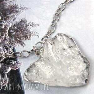 naszyjniki wisiorek serce z łańcuszkiem, naturalny kryształ górski