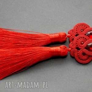 klipsy czerwone sutasz, sznurek, eleganckie, wiszące, wieczorowe, długie