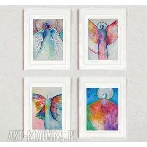anioły-cztery akwarele