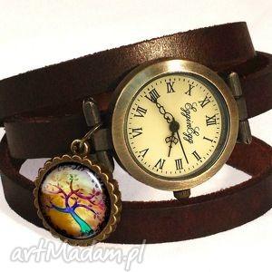 kolorowe drzewo - zegarek bransoletka na skórzanym pasku - symboliczne
