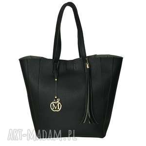 ręcznie zrobione torebki manzana duża torba klasyczna 2w1 czarna matowa