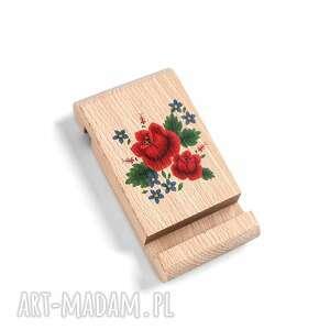 Drewniany stojak pod telefon z grafiką róże ludowelove kwiaty