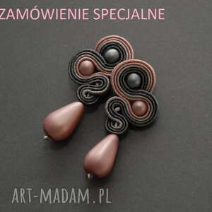 Szaro-różowe kolczyki sutasz sisu sznurek, pudrowe, wiszące