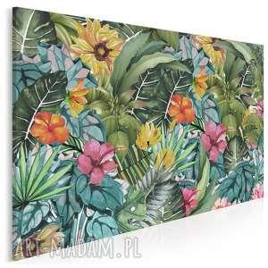 obraz na płótnie - liście kwiaty egzotyczny 120x80 cm 74501, liście