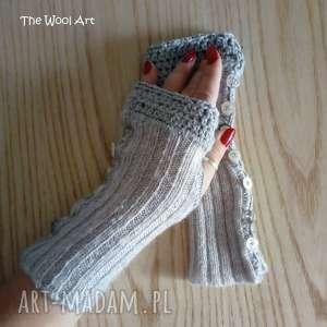 rękawiczki mitenki, rękawiczki, szyte, wełniane