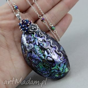 Paua abalone hematyt i srebro - naszyjnik, paua, abalone, hematyt, tytan,