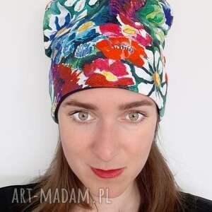 czapki czapka no 33, kwiaty malowane, wzór kolorowy, kwiatowy, nadruk