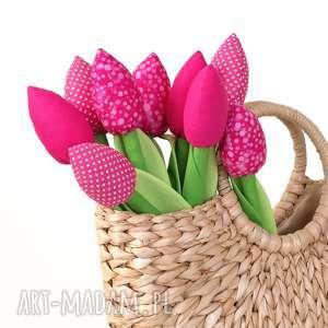 tulipany różowy bawełniany bukiet, kwiaty, bawełniane