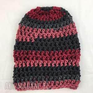 handmade czapki ręcznie robiona czapka bordowo szara 2 hand made