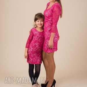 Komplet sukienek LAURA, koronka, fuksja, komplet, dopasowane, mamaicórka, sukienki