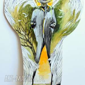 anioł drogi - obraz farbami akrylowymi na drewnie artystki adriany laube