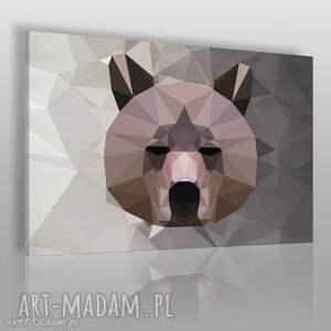 obraz na płótnie - miś geometryczny 120x80 cm 43701, niedźwiedź, miś, zwierzę