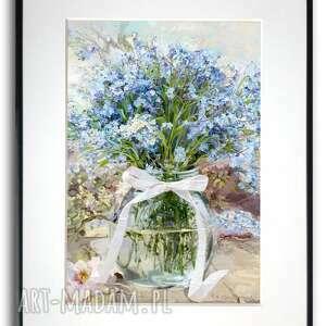 grafika w ramie niezapominajki słoju 30x40, na prezent, niebieskie kwiaty
