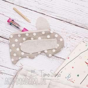 Piórnik dla dziecka Króliczek (Białe grochy), len
