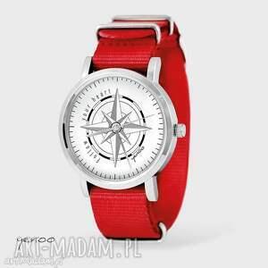 handmade zegarki zegarek, bransoletka - kompas - czerwony, nato